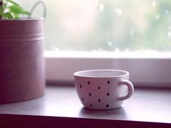 Rainy day in Stockholm (juliuskoroll) Tags: cup coffee rain pen cozy tea sweden stockholm olympus mug dots ep1