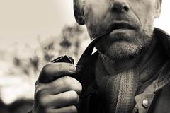 Pipe (Katie Greenman) Tags: white man black texture beard masculine manly pipe smoking 5d smoker pipesmoker virile