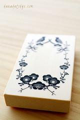 Rubber stamp - Japanese card - business card size (Karaku tokyo) Tags: flower bird japanese pentax rubber stamp size business wreath card etsy rubberstamp k7 vision:text=07