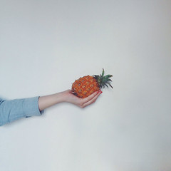 Tiny pineapple (sheshakes) Tags: red food white girl wall fruit hand skin nails pineapple iphone