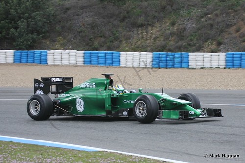 Marcus Ericsson in his Caterham at Formula One Winter Testing 2014