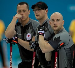 Sochi Ru.Feb14-2014.Winter Olympic Games.Team Canada,third Ryan Fry,second E.J.Harnden.,lead Ryan Harnden.WCF/CCA/michael burns photo (seasonofchampions) Tags: brad russia canadian jacobs olympics curling sochi 2014 olympians secondejharnden thirdryanfry leadryanharndenwcfccamichaelburnsphoto {vision}:{people}=099 {vision}:{face}=099 {vision}:{mountain}=0555 {vision}:{groupshot}=099 {vision}:{outdoor}=0952 sochirufeb142014winterolympicgamesteamcanada