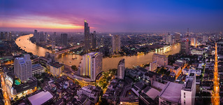Chao Phraya River Golden Twilight in Bangkok