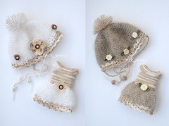 New crochet sets (Art_emis) Tags: beads dress handmade crochet helmet cotton mohair ribbon satin artemis sets