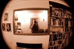 Soon to be gone (Stray Toaster) Tags: me bookshelf fisheye