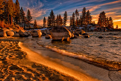 Light on Sand Beach (mojo2u) Tags: sunset nevada laketahoe sandbeach nikon2470mm nikond800