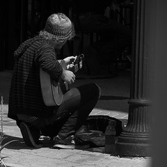 begin the begin. (Photomaginarium) Tags: musician music canon mono folk candid streetphotography gimp powershot blacknwhite bnw begin takeittothestreets sx30 photomaginarium gregostrander digitalagerecessionerafolkart