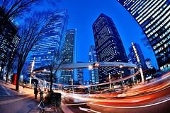 Nishi-Shinjuku at Dusk (hidesax) Tags: street light urban car japan circle tokyo nikon shinjuku stream cityscape nightscape skyscrapers dusk trails intersection sigma15mmf28exdgdiagonalfisheye hidesax nishishinjukuatdusk d800e nikond800e