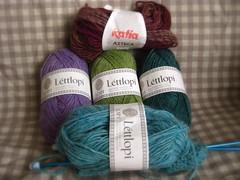 Icelandic wool (Nausica Knits) Tags: wool katia felting yarn icelandic azteca lttlopi springgreenheather glacierblueheather lilacheather islenkull
