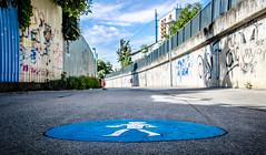 The fixed Pedestrian (Thomas TRENZ) Tags: vienna wien blue way austria iso200 nikon pedestrian roadsigns f80 blau 1320 weg simmering strassenmarkierung sterreich nikon35mm18g 35mmcrop nikond5100 fugeher fuverkehr