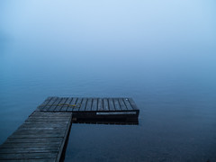 Into the Blue (Dan Cronin^) Tags: blue mist ontario canada rural dock halliburton nohorizon