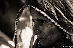 Rajasthani lady (karmajigme) Tags: lady woman human portrait rajasthan india blackandwhite monochrome noiretblanc travel nikon