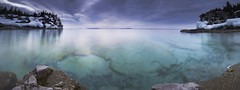An Icy Panorama (andrewpmorse) Tags: brucepeninsula brucepeninsulanationalpark nationalpark ontario longexposure parks panorama water lake lakehuron landscape winter cold ice canon canon1635f4l 1635mmf4l leefilters leebigstopper lee09ndgradhard imcold cliffs overcast clouds