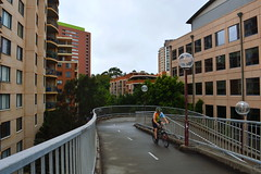 The beginning of the pedestrian and cycle track section of Anzac bridge in Pyrmont  (Sydney NSW Australia) (nicephotog) Tags: anzac bridge pedestrian footpath flats apartment block sydney nsw pyrmont ultimo cycle path ramp