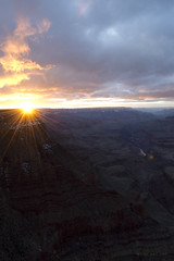 GC2_8_17Sunset2 (Sandi Beaudoin) Tags: grand canyon arizona south rim lipon point sunbeam sunset cloudy sky colorado river golden sun cliffs lipan national park landscape
