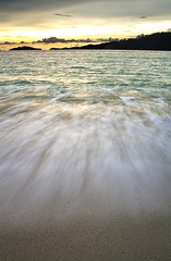 Sunset Waves (paza140) Tags: travel sunset sea sky holiday beach nature water clouds landscape thailand island sand hill wave koh lipe paza140