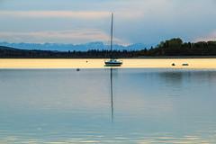 Serenity now (hey ~ it's me lea) Tags: sunset mountains calgary evening alberta serenity now glenmorereservoir