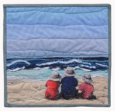 Beach Boys (bekahdu) Tags: art beach quilt textile fiber fibre threadpainting