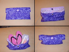 Lexy's Pedicure Purse (prettyhandmadethings) Tags: flowers purple sewing lavender cotton purse pedicure bandana sewn lavendar washable