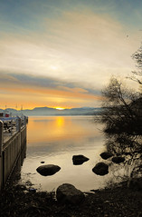 Ullswater (Gamblin Man) Tags: sunset mountains reflection tree water clouds landscape pier colours lakes ullswater thelakedistrict