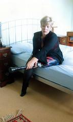 amp-0147 (vsmrn) Tags: woman stocking crutches nylon amputee onelegged pegleg