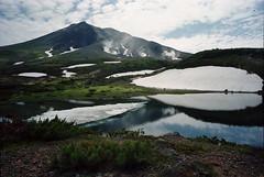 Mt.Asahidake from Sugatami (threepinner) Tags: summer lake mamiya 50mm iso100 volcano press f63 selfdeveloped 旭岳 sekor 大雪山国立公園 姿見 マミヤ mtasahidake mountainsnaps マミヤプレス taisetsunationalpark ralaace