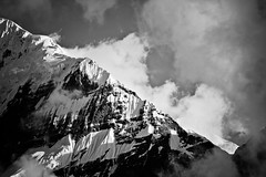 Nilgiri (Huey Yoong) Tags: nepal sky bw mountain snow nature monochrome clouds trekking walking outdoors blackwhite asia dramatic monotone villages trail peaks annapurnacircuit naturephotography southasia nilgiri mountainrange jomsom landscapephotography 5photosaday nikond600 nikkor28300mmvr