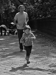 Don't Go Too Far! (Retrofresh!) Tags: nyc autumn urban bw man girl brooklyn bench toddler dad child outdoor candid father daughter running chasing bayridge shoreroadpark ricohgrdigitaliv