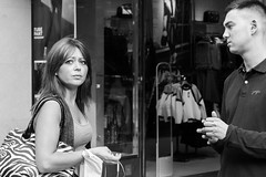 A Serious Moment (Pauls-Pictures) Tags: street city nottingham two england people urban black eye photography serious photos body expression candid pair sony streetphotography 7 talk contact language alpha talking facial photograhy streetphotos nex streetpics streetphotograhy streetpictures