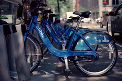 Citi Bike (dtanist) Tags: new york city nyc newyorkcity newyork film bike bicycle analog 50mm ar kodak manhattan central bikes grand row east bicycles midtown 100 konica docked racks citi ektar hexanon fc1