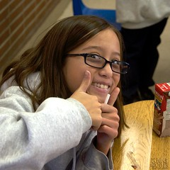 Cheeky Thumbs Up (Kevin MG) Tags: losangeles usa girls classroom schoolgirls glasses cute young teens preteen northridge smile california child kids kid children