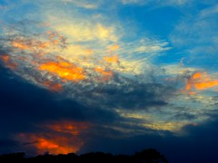 Sunrise fire messages (KerKaya) Tags: blue red orange colors yellow clouds sunrise fire day cloudy fz200 kerkaya