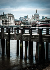 Across The Thames (Pixelglo Photography) Tags: city london beach church water thames river pier cathedral stpaulscathedral riverbank riverthames paulscathedral