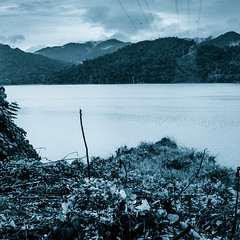 alone in the world (Syauqi QaharP) Tags: blue shadow sky cloud white mountain lake black flower nature water square point landscape nikon scenery background tripod filter malaysia format layers middle highlight interest foreground banding tasik perak gerik tasikbanding d5100