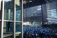Seattle Seahawks Super Bowl Champions Parade (Eric Hanson's Photostream) Tags: seattle library central remkoolhaas seattlecentrallibrary joshuaprinceramus