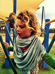 DB, using my scarf as a coat (miaow) Tags: school friends cold weekend db visiting kinglake 3yo