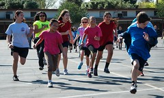 Chased by Girls (Kevin MG) Tags: ca blue girls boy red usa cute kids children fun outdoors losangeles athletic nikon little young running teen northridge jogathon d7000 nikond7000 vision:text=0574 vision:outdoor=0924