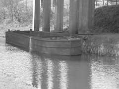 Seeing Double (fabbird1964) Tags: reflection water wales mono canal barge neath