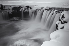 Its a Cold, Soft Fall (simplediscoveries) Tags: longexposure travel bw snow cold ice blackwhite waterfall iceland power explore myvatn godafoss