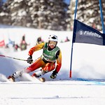 Soleil Patterson (Red Mountain Racers) winning the two-run GS at the Apex Fidelity U16 Can-Am event