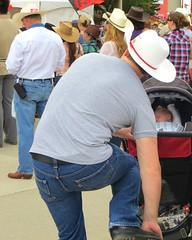 Nice timing! (ManontheStreet2day) Tags: boy ass hat daddy belt cowboy dad boots butt tshirt hunk twink jeans bluejeans levis stud