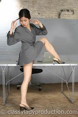sexy secretary (lillianclassy) Tags: woman sexy girl beauty female asian mujer model shoes legs sensual thighs short upskirt heels uniforms secretary stiletto seductive revealing gambe piernas provocative strobes