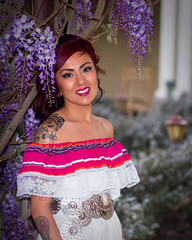 Desi Doll at the Albuquerque Hotel (Mitch Tillison Photography) Tags: party portrait southwest beautiful garden photography photo doll dress bokeh gorgeous lavender naturallight mexican desi limited reflector k3 pentaxfa77mm mitchtillison