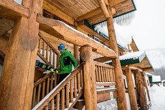 Getting Ready (Last Frontier Heliskiing) Tags: travel chris trees 2 storm ski tree mike last creek booth skiing bell suz smoke chest deep powder stuart blow ripley safari helicopter waist pow graham heli frontier glade northernbc blower skiers glades bell2 heliskibc belltwo