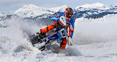 Snow Bike Throwing Some Snow (maytag97) Tags: maytag97 race compete competition bike snowbike outdoor winter fast speed turn lean corner sport snow west yellowstone montana motorcycle motor