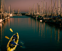 Into the Night (Photo Alan) Tags: sunset water sea boat marine ocean night nightcity santabarbara california unitedstates