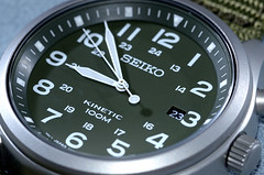 Seiko Kinetic Watch (DigitalCanvas72) Tags: seiko watch usa japan mechanical automatic kinetic nikond7000 nikkor85mm35gedvrdx military look green od