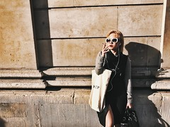 Fierce and she knows it. (Rob Pearson-Wright) Tags: fashion street sunlight iphone shotoniphone7 shotoniphone7plus mobilephotography candid woman lady streetphotography colour color london uk smoking hot sunglasses