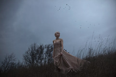 The side of a dying hill. (aleah michele) Tags: beautiful blue broken bird battle buffalo bluehour bald conceptual conceptualportrait concept calm cold color chill clouds cloth fairytale fantasy face field dark deep delicate dusk dream dof darkness desire