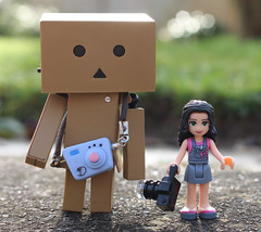 In The World Of My Danboard Dina (Belle Pans Maze) Tags: toy figure revoltech danboardmini danboard photographer lego friends emma camera dina bokeh outdoor nature legofriends storytelling